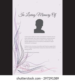 Vector funeral card with elegant abstract floral motif, place for text and photo