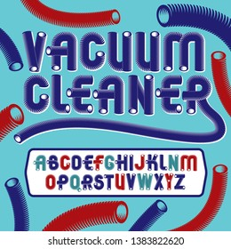Vector funky capital English alphabet letters collection. Retro font, script from a to z can be used in poster art. Created with hosepipe style, plumbing.