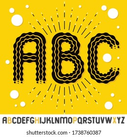 Vector funky capital English alphabet letters, abc collection. Rounded bold retro font, typescript can be used as logo design element. Created using waves, flowing lines.