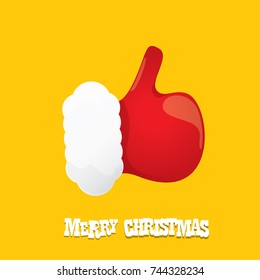 vector funky cartoon Santa Claus like hand icon isolated on orange background . thumbs up santa hand symbol. merry christmas greeting card or party poster background
