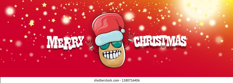vector funky cartoon smiling santa claus potato with red santa hat and calligraphic christmas text on horizontal red background with blur and lights. vegetable funky christmas food character
