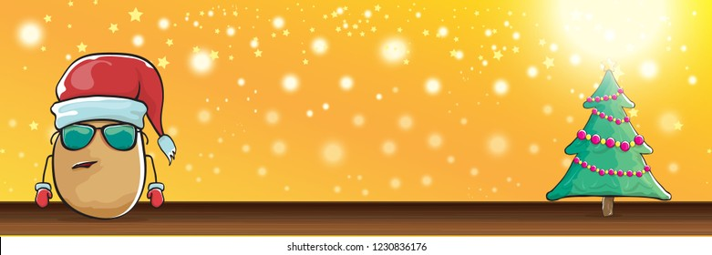 vector funky cartoon smiling santa claus potato with red santa hat and calligraphic christmas text on horizontal orange background with blur and lights. vegetable funky christmas food character