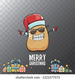 vector funky comic cartoon cute brown smiling santa claus potato with red santa hat, gifts and calligraphic merry christmas text isolated on transparent background. vegetable funky christmas character