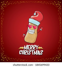 vector funky comic cartoon cute brown smiling santa claus potato with red santa hat and cartoon merry christmas text isolated on classic red background. vegetable funky christmas kids character