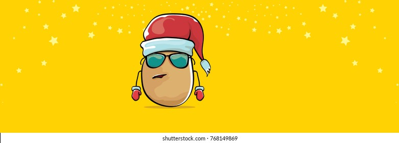 vector funky comic cartoon cute brown smiling santa claus potato with red santa hat and calligraphic merry christmas text isolated on horizontal orange background. vegetable funky christmas character