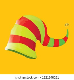 vector funky red and green stripped cartoon christmas elf hat isolated on orange background. vector kids colorful elf hat icon or label. Christmas decorative design element for banner or poster