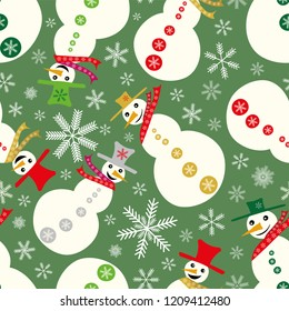 Vector funky white, gold, and red  snowmen with hats and scarves on green background with snowflakes, tossed seamless pattern. Perfect for scrapbooking, brochures, stationery and marking  projects.