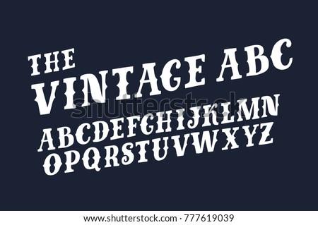 Vector Funny ABC Retro Slanted Slab Capital Latin Abc On Black Background For Prints