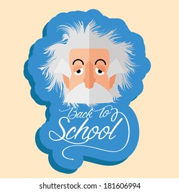 Vector Funny Albert Einstein Cartoon Portrait Isolated