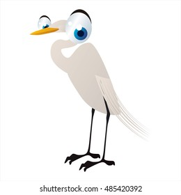 vector funny animal cute character illustration. Egret or heron