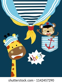 Vector of funny animals sailor cartoon