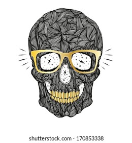 vector funny, candy, black skull with golden glasses and golden teeth on white background