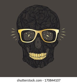 vector funny, candy skull with golden glasses and golden teeth on brown background