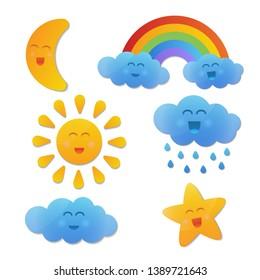 Vector funny caracter cartoon sun cloud raindow moon set