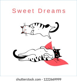 Vector funny card with sleeping graphic cats on a white background