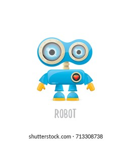 vector funny cartoon blue robot character Isolated on white background. Kids 3d robot toy logo design template