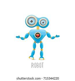 Vector funny cartoon blue robot character isolated on white vector funny cartoon blue robot character isolated on white background kids 3d robot toy logo maxwellsz
