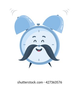 Vector funny cartoon character, laughing and ringing old-fashioned blue alarm clock with a mustache. Great design for children's books, clothes, prints