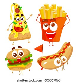 Vector funny cartoon characters of fast food. Isolated on white background. Hamburger, hot dog, potato and pizza.