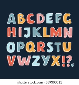 Vector funny cartoon colorful cute english bold font with outline on dark background
