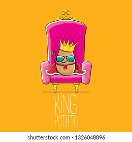 vector funny cartoon cool cute brown smiling king potato with golden royal crown and red mantle or cape sitting on pink throne isolated on orange background. vegetable funky food drawn character