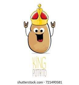 vector funny cartoon cool cute brown smiling king potato icon with gold crown isolated on white background. vegetable funky character