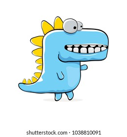 vector funny cartoon cute blue monster dinosaur isolated on white background. Vector funny blue mascot dragon . Hand drawn Dino logo design template