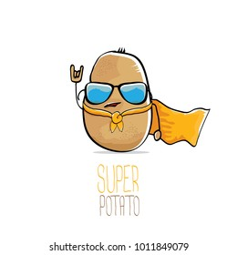 vector funny cartoon cute brown super hero potato with orange hero cape and sunglasses isolated on white background. My name is potato vector concept. super funky vegetable food  character