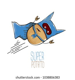 vector funny cartoon cute brown super hero potato with blue hero cape and mask isolated on white background. My name is potato vector concept. super funky vegetable food character
