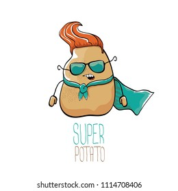 vector funny cartoon cute brown super hero potato with azure hero cape and sunglasses isolated on white background. My name is potato vector concept. super funky vegetable food character