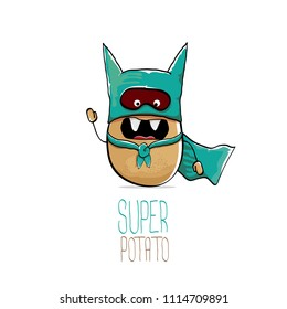 vector funny cartoon cute brown super hero potato with azure hero cape and mask isolated on white background. My name is potato vector concept. super funky vegetable food character