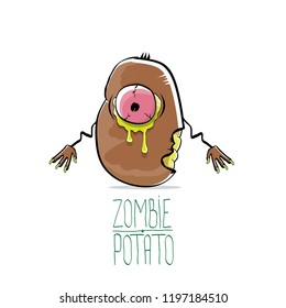 vector funny cartoon cute brown zombie potato character isolated on white background. My name is zombie potato vector concept halloween background. monster vegetable funky character