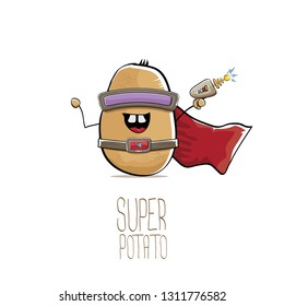 vector funny cartoon cute brown super hero potato with mask, red hero cape and gun isolated on white background. My name is potato vector concept. super funky vegetable food character