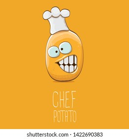 vector funny cartoon cute brown chef potato isolated on orange background. My name is potato vector concept. vegetable funky character with chef hat