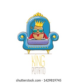 vector funny cartoon cute brown smiling king potato with golden royal crown and red mantle or cape sitting on blue throne isolated on white background. vegetable funky food drawn character