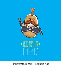 vector funny cartoon cute brown punk rock star potato character with Iroquois isolated on blue background. My name is potato vector concept. rock n rock hipster vegetable funky character