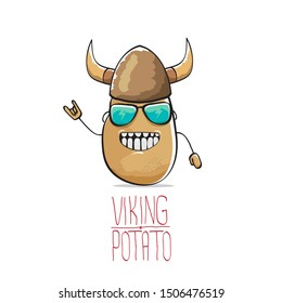 vector funny cartoon cute brown super hero viking potato with viking helmet isolated on white background. My name is potato vector concept. super vegetable funky character