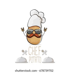 vector funny cartoon cute brown chef potato isolated on white background. My name is potato vector concept. vegetable funky character with chef hat