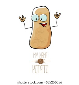 vector funny cartoon cute brown potato isolated on white background. My name is potato