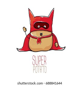 vector funny cartoon cute brown super hero potato with red hero cape and red mask isolated on white background. My name is super potato vector concept.  vegetable funky character