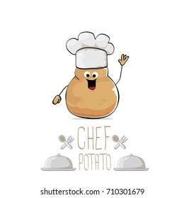 vector funny cartoon cute brown chef sweet potato isolated on white background. My name is potato vector concept. vegetable funky character with chef hat