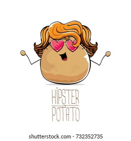 vector funny cartoon cute brown hipster potato with long blond hair and pink heart shape sunglasses isolated on white background. My name is potato vector concept. vegetable funky character