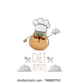 vector funny cartoon cute brown smiling chef potato with mustache and beard isolated on white background. My name is potato vector concept. vegetable funky character with chef hat