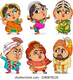 Vector. Funny cartoon. Cute comic drawing of Indians. Separate items.