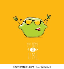 vector funny cartoon cute green lime character isolated on orange background. My name is lime concept illustration. vector funky summer food character