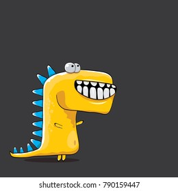 vector funny cartoon cute orange monster dinosaur isolated on black background. Vector funny orange mascot dragon . Hand drawn Dino logo design template