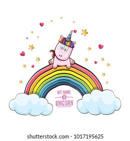 vector funny cartoon cute pink fairy unicorn sitting on raonbow in sky with clouds. My name is unicorn vector concept illustration. funky hand drawn kids background