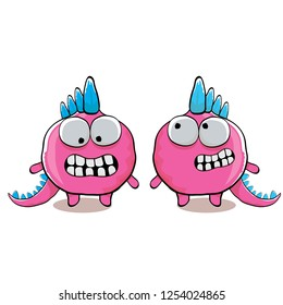 vector funny cartoon cute pink monster dinosaur isolated on white background. Vector funny pink mascot dragon . Hand drawn Dino logo design template