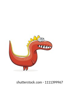 vector funny cartoon cute red monster dinosaur isolated on white background. Vector funny red mascot dragon . Hand drawn Dino logo design template