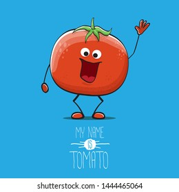 vector funny cartoon cute red smiling tomato character isolated on blue background. My name is tomato. summer vegetable funky character